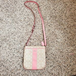 Coach Crossbody Purse Pink/Tan Signature Logo